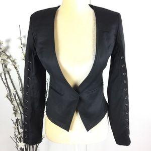 WILLIAM RAST Black Lace Up Blazer Jacket Coat